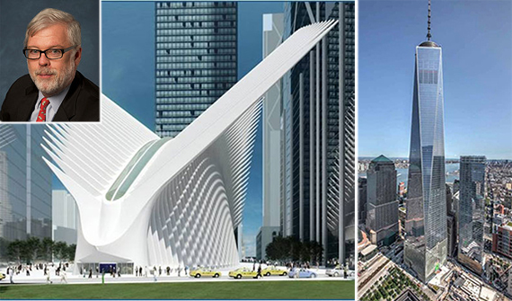 From left: Rendering of Westfield's World Trade Center and One World Trade Center (inset: Port Authority Executive Director Pat Foye)