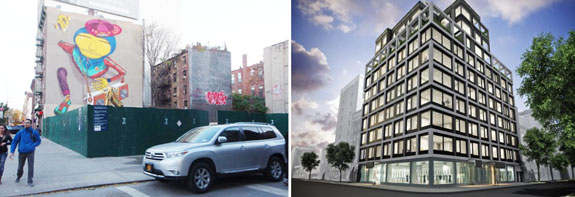 24 Second Avenue currently and rendering of the forthcoming condo building (via Bowery Boogie)