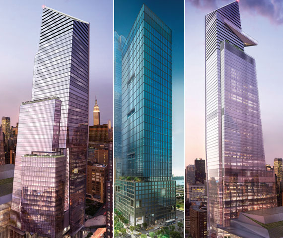 From left: 10 Hudson Yards, 55 Hudson Yards and 30 Hudson Yards