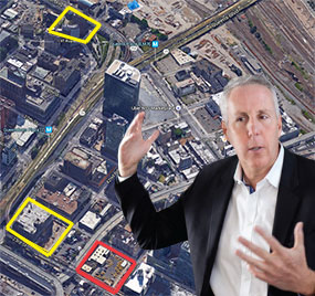 Kevin Maloney with 42-50 24th Street (in red) and his other Long Island City development sites