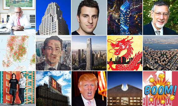 Top from left: Robert A.M. Stern, 11 Madison Avenue, Brian Chesky, One57 and Rubin Schron. Middle from left: A map of Airbnb listings, Jonathan Gray, 220 Central Park South, The Real Deal's March 2015 issue and Stuy Town. Bottom from left: Adam Neumann and Miguel McKelvey, the History Channel building in the Bronx, Donald Trump, 550 Madison Avenue and The Real Deal's April 2015 issue