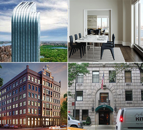 Clockwise from top left: One57, rendering of One Riverside Park, 834 Fifth Avenue and the Schumacher at 36 Bleecker