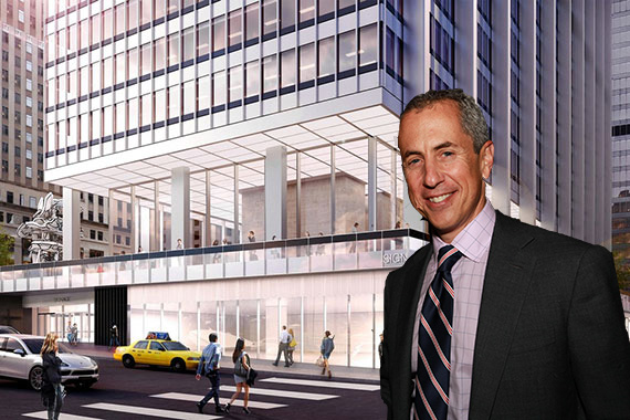 A rendering of 28 Liberty Street in the Financial District (inset: Danny Meyer)