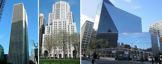 From left: The GM Building, 11 Madison Avenue and 51 Astor Place