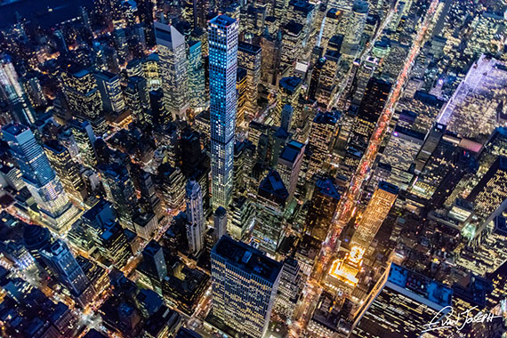 Aerial night view of Midtown Manhattan by Evan Joseph