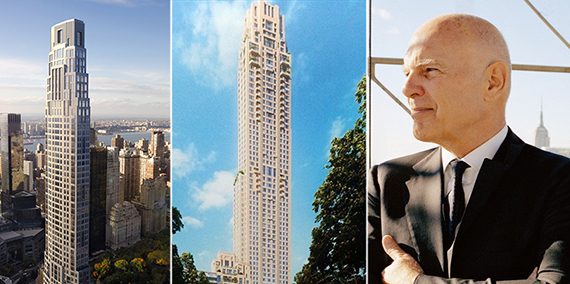From left: Older rendering of 220 Central Park South, new rendering and Steven Roth