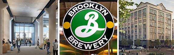 From left: Building 77 rendering, Brooklyn Brewery and a rendering of Industry City