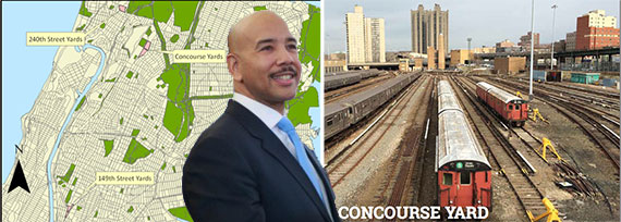 Bronx Borough President Ruben Diaz, Jr. with a map of study sites and Concourse Yards