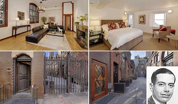 Townhouse and courtyard at 156 East 36th Street in Murray Hill's Sniffen Court (inset: Cole Porter) (Credit: Corcoran)