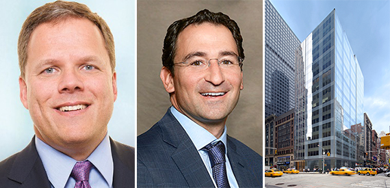 From left: New York REIT's Michael Happel, Blackstone's Jonathan Gray and 1140 Sixth Avenue in Midtown