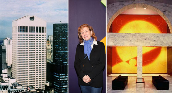 """The Sony Building, Dorothea Rockburne and one of the murals, """"Northern Sky"""""""