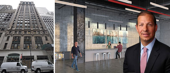 Jason Schwartzenberg with 114 West 41st Street near Bryant Park and a rendering of the building's amenity space