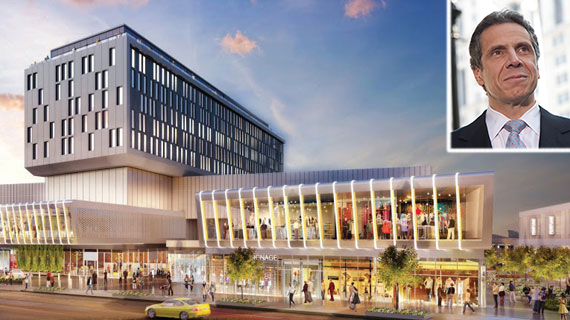 Rendering of Empire Outlets in Staten Island (inset: Andrew Cuomo)