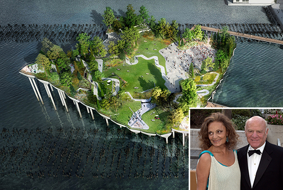 A rendering of Pier 55 (Inset: Diane von Furstenberg and Barry Diller)