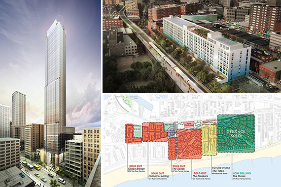 Clockwise from left: A rendering of New Empire Real Estate's 131-141 East 47th Street in Midtown East, a rendering of Monadnock's One Flushing and a diagram of Benjamin Companies and the Beechwood Organization's Arverne by the Sea project in the Rockaways