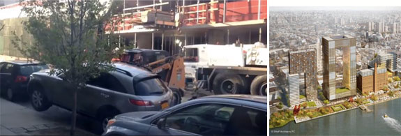 A screenshot of the car being moved and a rendering of the redevelopment of the Domino Sugary Factory site in Williamsburg
