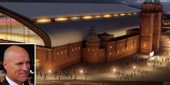 Rendering of Kingsbridge Armory (inset: Mark Messier)