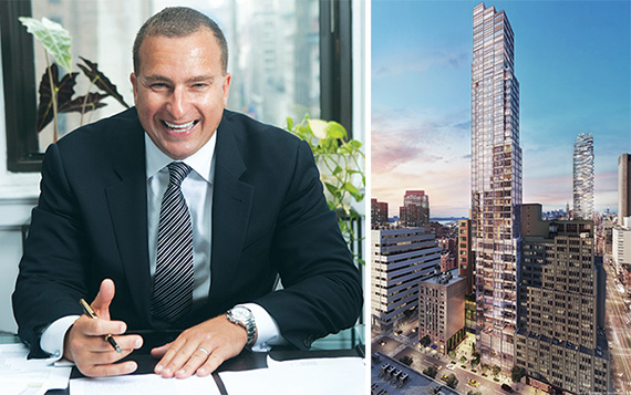 From left: Sharif El-Gamal and rendering of 45 Park Place in Tribeca