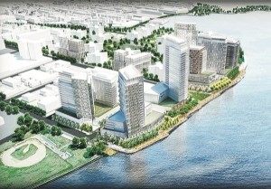 A rendering of Durst's Halletts Point development