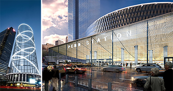 """From left: Rendering of """"The Halo"""" and rendering of redeveloped Penn Station"""
