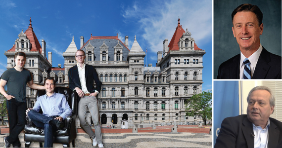 From left: Airbnb's Brian Chesky, Nathan Blecharczyk, Joe Gebbia and the Capitol Building in Albany (inset from top: Peter Ward and Joseph Strasburg)