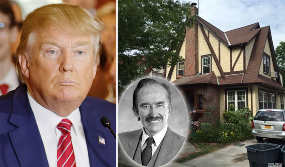 Donald Trum and his childhood home in Queens; Fred Trump inset