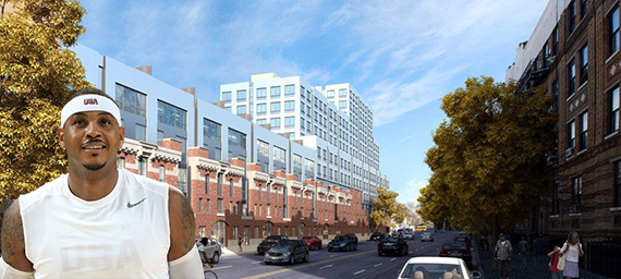 Rendering of the Bedford Union Armory redevelopment (inset: Carmelo Anthony) (credit: Jean Catuffe/Getty Images)