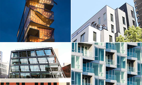 Clockwise from top left: Columbia University's Medical and Graduate Education Building in Washington Heights (credit: <a href=