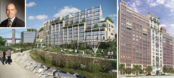 Pierhouse at Brooklyn Bridge Park and 1110 Park Avenue (inset: Toll Brother's Douglas Yearley)