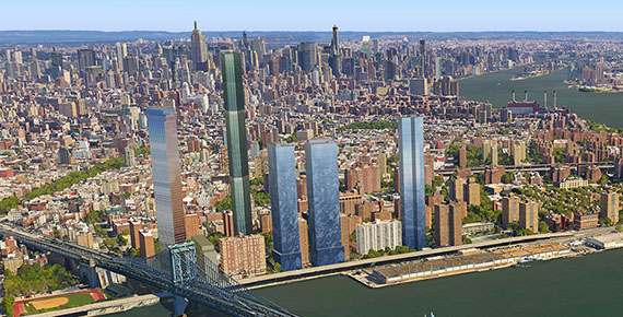 Rendering of Two Bridges skyline based on proposed massing (credit: City Realty)