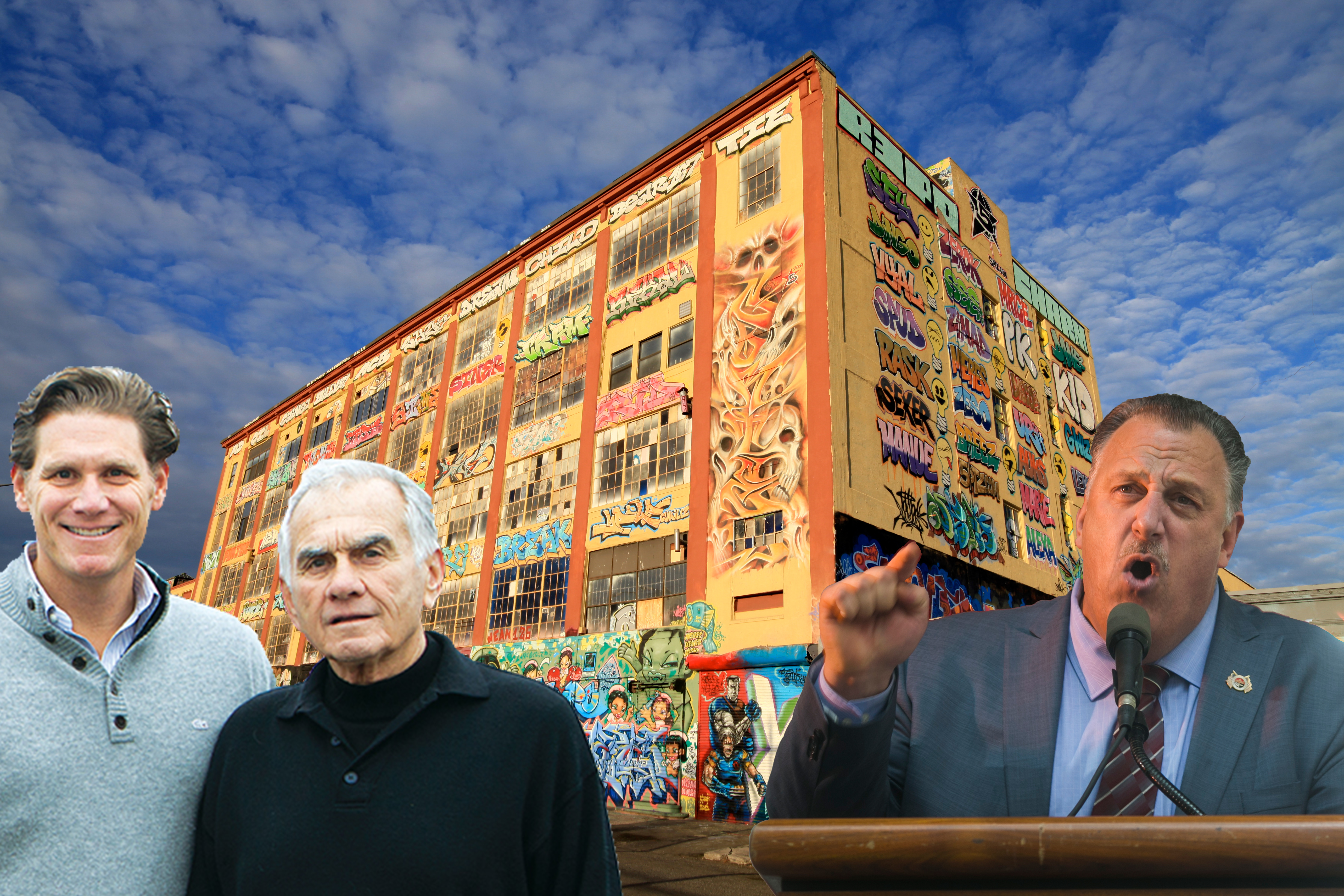 From left: David Wolkoff and his father, Jerry Wolkoff 5Pointz in Long Island City and Gary LaBarbera
