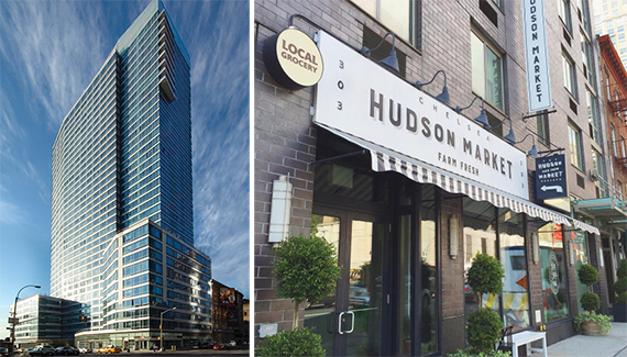 From left: 601 West 57th Street and Hudson Market in Chelsea