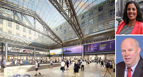 Rendering of the Moynihan Train Hall (inset from top: Veronica Vanterpool and MTA's Thomas Pendergast)
