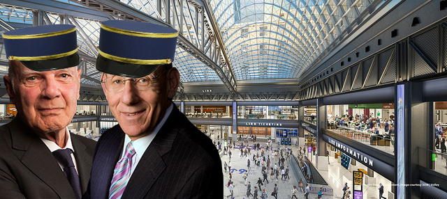 From left: Steven Roth, Stephen Ross and a rendering of the James A. Farley Post Office's redevelopment