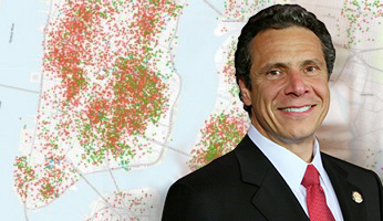 Map of Airbnb listings (credit: Inside Airbnb) and Andrew Cuomo