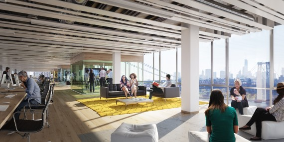 Rendering ofhe Domino Sugar Factory office space (credit: Two Trees)