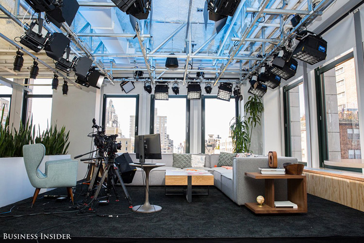 """Our next stop was the office's new media space, used for filming Facebook Live interviews. The spot features a fully-lit stage and a classic view of New York City. Reynar says celebrity sightings aren't rare around the Facebook office. Recently, the cast of Netflix's """"Stranger Things"""" swung by for an interview. (credit: Sarah Jacobs via Business Insider)"""