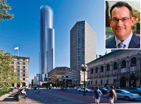 Simon Property Group CEO David Simon and a rendering of the Boston tower