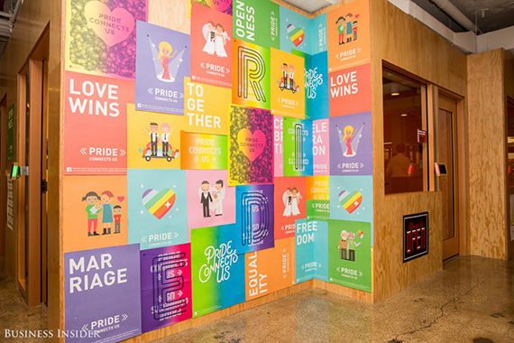 There are also murals and posters around every corner. Much of the art reflects Facebook's values. These posters demonstrate the tech giant's support of gay pride. (credit: Sarah Jacobs via Business Insider)