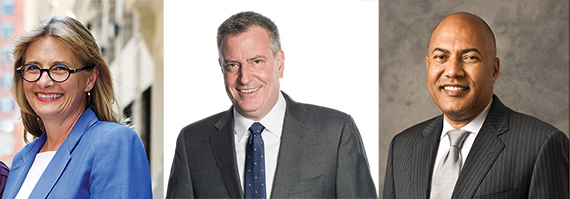 From left: Vicki Been, Bill de Blasio and Jacques Jiha