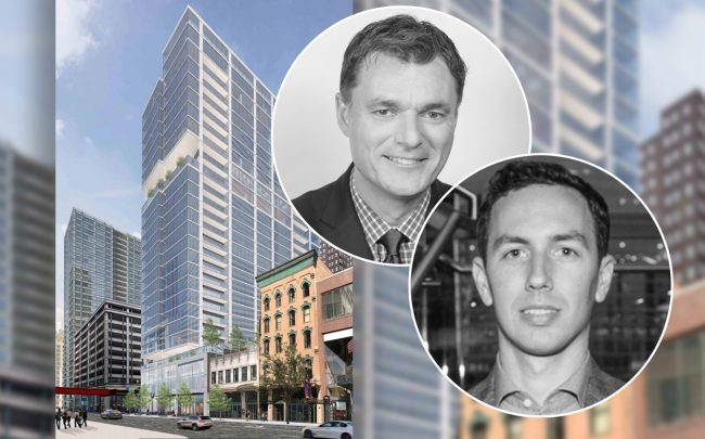 From left: a rendering of 50 East Randolph Street, Thomas Roszak, and Michael Moceri (Credit: Linkedin)