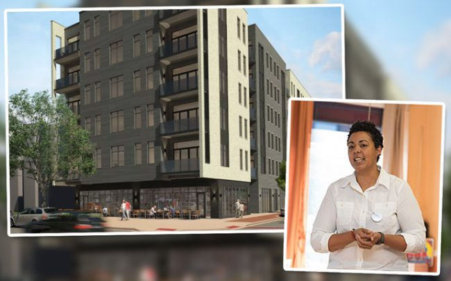 Alderman Maria Hadden and a rendering of the building that had been proposed at 7000 North Glenwood