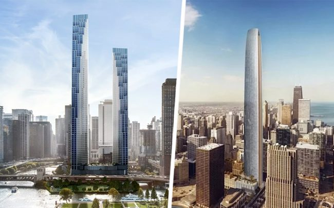 From left: A rendering of Related Midwest's skyscraper and a rendering of Golub and CIM Group's skyscraper (Credit: Related Midwest and Golub and CIM Group)