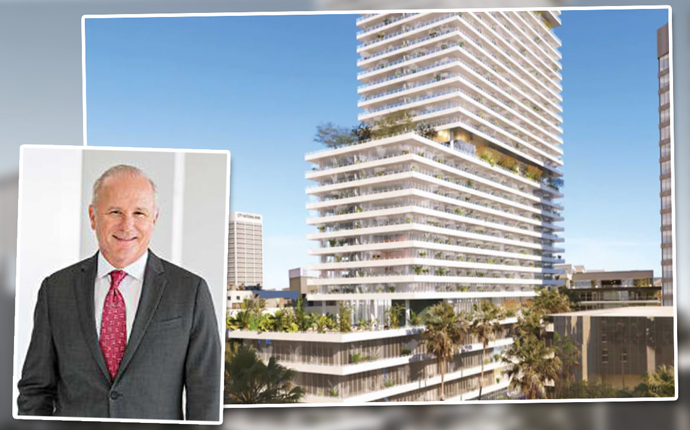Mutsui Fudosan America CEO John Westerfield and a new rendering of the Eighth, Grand, and Hope project via Gensler