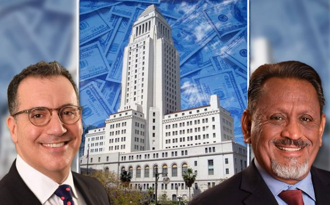 Councilmen Blumenfield and Cedillo with City Hall