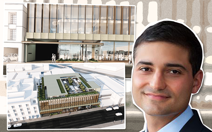Faring's Jason Illoulian and a rendering of the La Peer Drive project