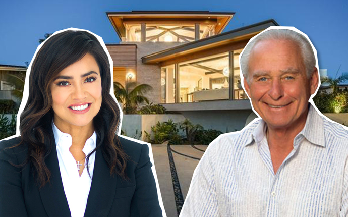 Esmeralda Gallemore, Skechers executive David Weinberg and the home at 2906 Tennyson Place (Credit: Realtor)