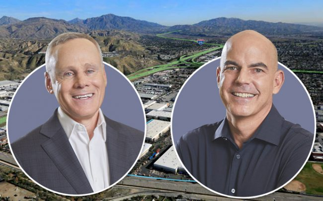 Rexford co-CEOs Howard Schwimmer and Michael Frankel and the entrance to the San Fernando Business Center