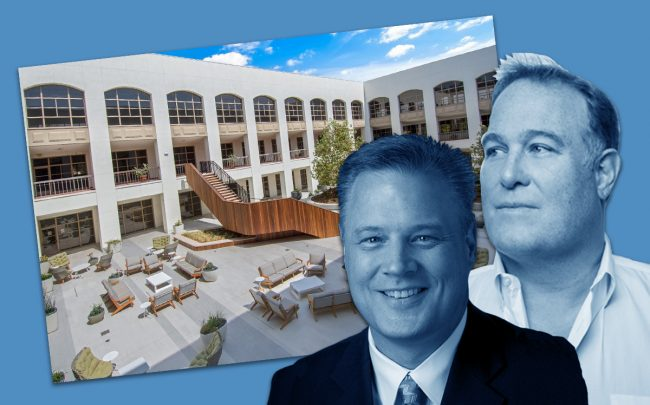 Rising's Park Calabasas campus, Republic Indemnity President Allen Goodwin and Rising Realty CEO Chris Rising (Credit: Jeff Newton)