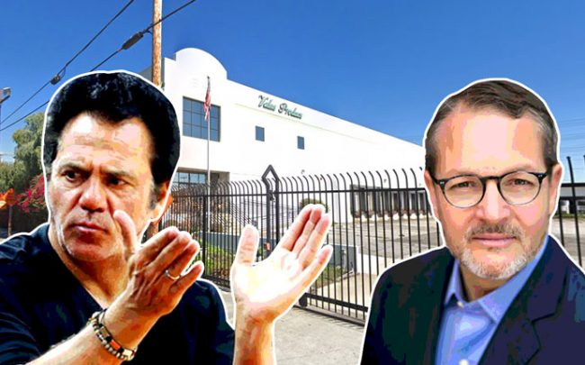 From left: Tom Gores and Mark Falcone with the project site